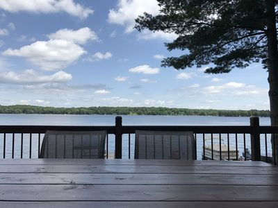 Deck off the living room overlooking the lake.