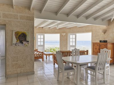 Photo for Beachfront 2 bedroom house right one the white sand beach of Silver Sands