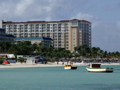 Marriott's Aruba Surf Club. On the beach. Great pools!  All weeks, best rates!