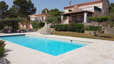 Villa overlooking the private pool and garden terraces