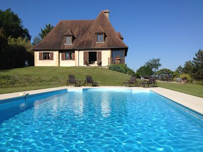 Photo for Beautiful Dordogne holiday house, private pool, wonderful views, walk to village