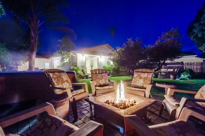 Nothing better than creating firepit memories & hot tub under the stars, perfect