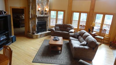 Great room with natural burning fireplace