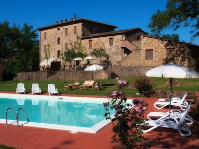 Photo for A beautiful 17th century stone farmhouse with spacious garden and private pool , family friendly