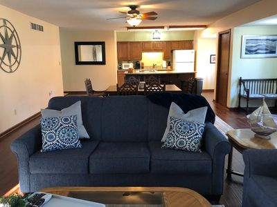Spacious open living, dining, fully equipped kitchen with 2 large bedrooms