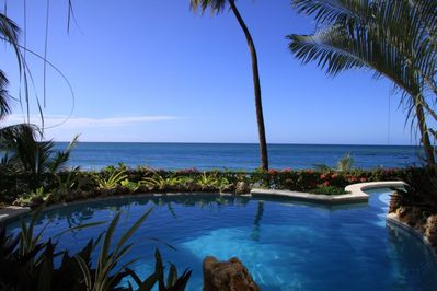 The Pool and view of the Caribbean Sea