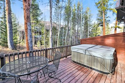 Deck view with private hot tub!