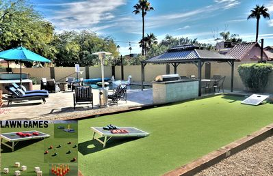 Resort Style Backyard with lots of outdoor games