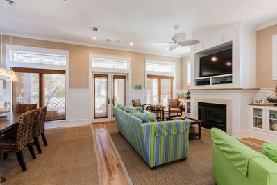 Living Area - Comfy seating for 6 and a gas fireplace in the open living space.