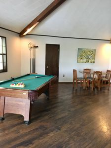 Huge living area with pool table and card table!