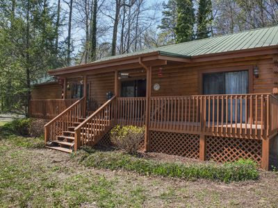 Photo for Enjoy this 3 BR Waterfront Log Cabin on the Broad River in Lake Lure ~ Large Flat Yard for Kids