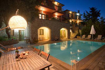 Villa Asteria night view, with its private pool and breathtaking sea views!