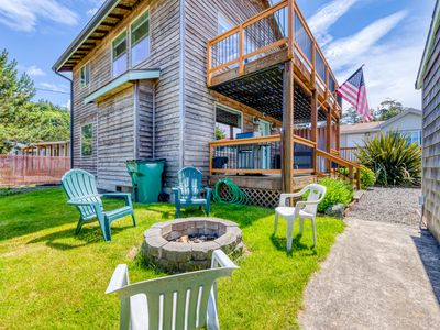 Photo for Dog-friendly home w/ private hot tub & firepit - walk to the beach!