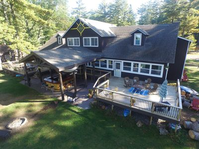 aerial view south lakeside deck and bar
