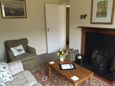 Sitting room with comfortable seating for up to six