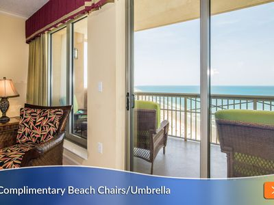 Photo for Complimentary Beach Umbrella & Chairs (3 sets) Included! Best Balcony Seating!!
