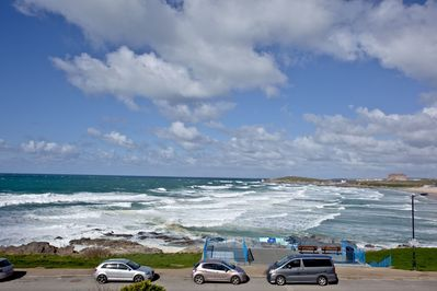 Views across Fistral Beach and out to sea