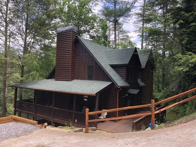 Photo for Large cabin on Mountaintown Creek with hot tub and game room