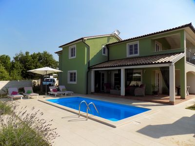 Photo for Beautiful villa with private pool, jacuzzi, sea views, WiFi, BBQ, playground and only 2 km from the beach