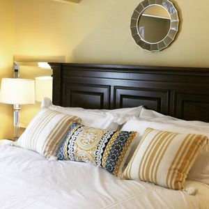 Our beautiful suite has a super comfy Cal King bed with Egyptian cotton sheets.