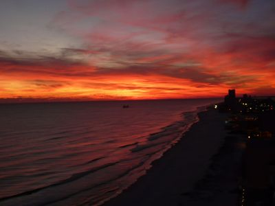 Unbelievable sunset from the balcony of 1809. View of Gulf Shores; 12/26/12.