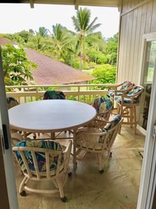 Exterior lanai. Very inviting can eat full meals outside on nice table.