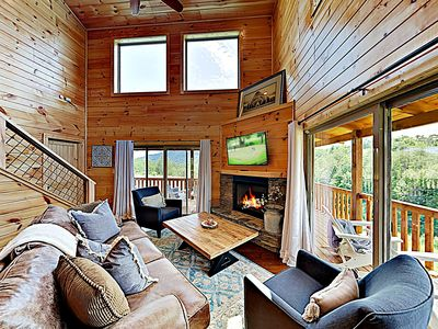 Photo for New Listing! Brand-New Smoky Mountain Cabin: Amazing Views, Hot Tub, Big Deck