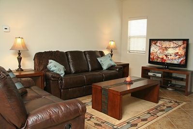 Relax or Watch TV in Reclining Leather Comfort