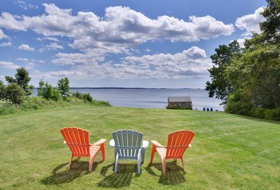 Sweeping, grassy lawn with views to the Bay and islands. Easy stroll to beach!