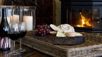 Tussie Mussie Pinot Noir with a cheese plate and wood fire... perfect.