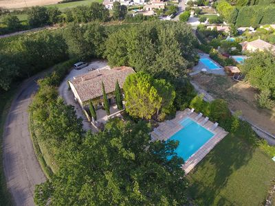 Aerial view of the house and beautiful pool