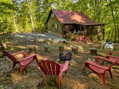 Photo for Private Cabin With Lake Access, Hot Tub, Fire-pit, Pet Friendly, Sleeps 8+