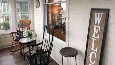 A peaceful escape on the front porch in our rocking chairs while people watching