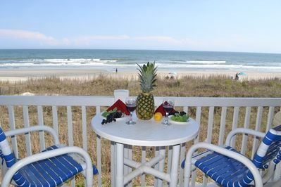 Oceanfront dining and relaxing on the balcony!