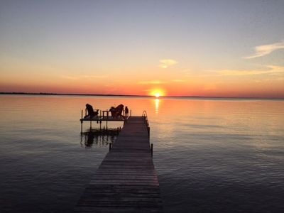 Sunset in full view from dock or cottage