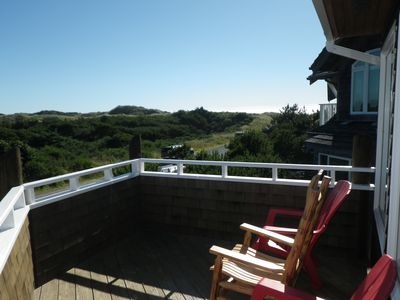 View from front deck to the ocean and mountains