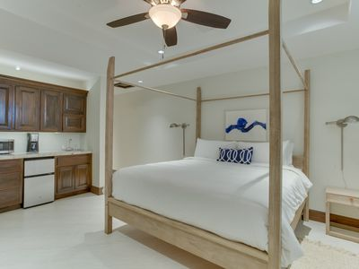Guest Bedroom Has Kitchenette With Refrig., Microwave, Coffee Maker, Sink,  Safe