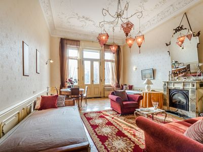 Photo for Budapest: Beautiful flat with fire-place and balcony ! Romantic and historic