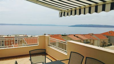 Photo for Two-storey three-bedroom apartment on a hill above the town in a quiet area.