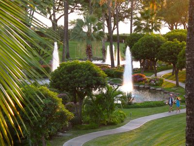 Beautiful grounds of Kamaole Sands as viewed from lanai
