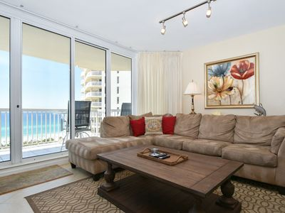 Photo for Spacious End Unit Condo. Large Balcony with Views of Beach. Free Beach Service