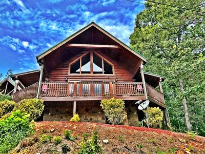 Photo for Log Cabin Gorgeous View! Smoky Mountain Log Cabin WiFi Hot Tub GSMNP