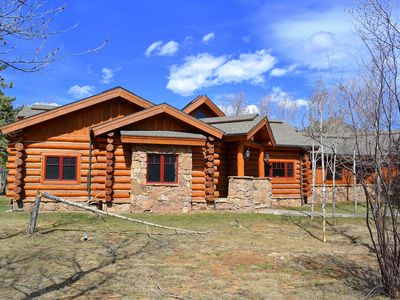 Photo for Luxury Log Home on Big Thompson River - Hot Tub - 3 private acres - Free Wifi