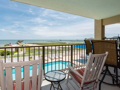 Photo for WATERFRONT VIEW, FULL KITCHEN, POOL/HOT TUB, ROMANTIC, BALCONY, WIFI!