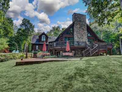Photo for NEW LISTING! Gorgeous lakefront lodge w/dock, deck, game room & firepit