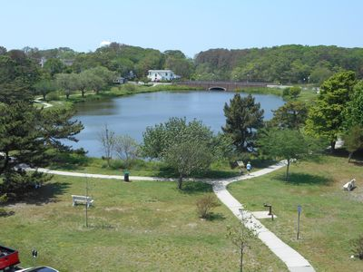 Photo for LINENS & DAILY ACTIVITIES INCLUDED*! OCEANFRONT/BOARDWALK BUILDING W/ROOFTOP POOL Enjoy this comfortable, spacious, nicely renovated and well maintained 2 bdm/2ba unit with excellent views of Lake Gerar and the town of Rehoboth