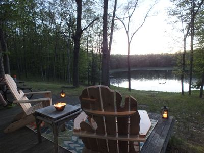 Family Cabin set on 14 wooded acres overlooking Ward Lake