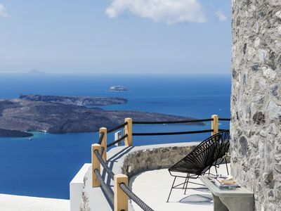Photo for Villa Windmill Santorini, Up to 4 Guests. Breathtaking caldera view and unique Sunsets and gaze at the avowed best view of Santorini