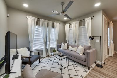 Contemporary and comfy living area! Large TV with cable!