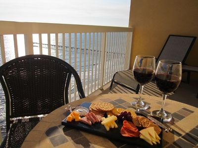 Wine and cheese on the balcony.